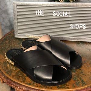 Stuart Weitzman Rockrose Black Slide Sandals Sz 7